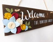 Personalized Welcome Sign Board with Felt Flowers Burgundy Light Blue Mustard Cream