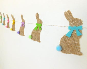 SALE Natural Burlap Cottontail Bunny Bunting Garland with Spring Colors, Tails and Ribbons Same