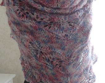 Hand knitted mohair lace shawl