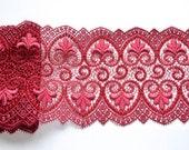 Wine Red Fleur De Lis Trim, Two Toned Red Embroidered Trim, Reanaissance Trim, Red Table Decor, Christmas Trim, Professional Costume