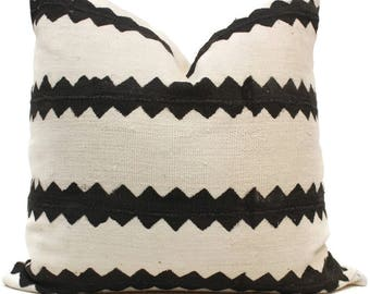 Decorative Pillow Cover White and Black Zig Zag Stripe African Mud Cloth, Hand made fabric from Mali Square or lumbar pillow