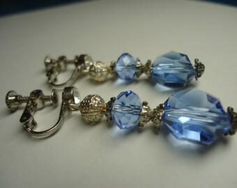 Earrings Clip On Swarovski Crystals Blue