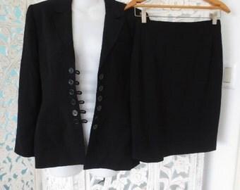 LOLITA LEMPICKA Premiere Black Suit Women's Paris France Designer Ladies Vintage French Small Jacket Skirt Retro Chic Work Clothing