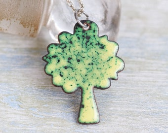 Green Tree Necklace - Enamel Copper Pendant on Chain - Spring Quirky Jewelry
