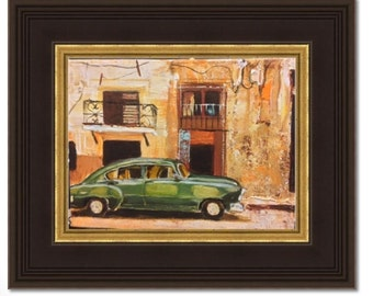 Old car in street of Old Havana Original 8x6 inches acrylic painting
