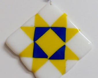 Quilt Square Glass Ornament - Yellow and Blue