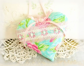 """Heart Ornament  Home Heart Pillow, 5"""" Door Hanger Cabbage Roses Print, Handcrafted Handmade CharlotteStyle Handcrafted Folk Art"""