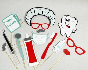 Dental Photo Booth Props, dental hygienist, dentist props, tooth photobooth, toothbrush props, doctor