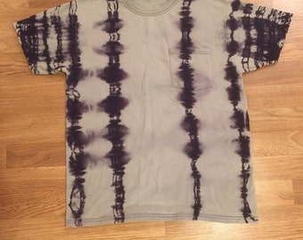 Adult M 100% cotton shibori ladder tee in blue gray