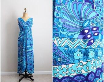 60s Hawaiian Dress / Printed Maxi Tropical Dress/ Tiki Dress/ 1960s Maxi Dress / Size S/M