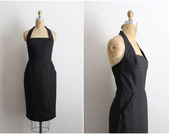 80s Halter Black Dress / Neiman Marcus dress/ Linen Black dress/ 50s Halter Dress/ Cocktail Dress/  Size XS/S