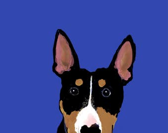 Quizzical Dog, Black and Tan Bull Terrier Blank Card