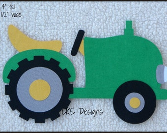 Die Cut Farm Green Tractor Premade Paper Piecing Embellishment for Card Making Scrapbook or Paper Crafts