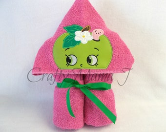 """Shopkins inspired Blooming Green Apple Hooded Bath Towel w/ worm friend! 10 1/2"""" Hood. READY TO SHIP. Can be personalized.For Child or Adult"""