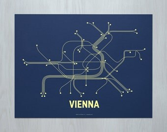 Vienna Screen Print- Navy/Lime Yellow