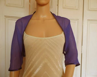 Purple chiffon ELBOW length sleeve bolero/shrug/jacket  with satin edging