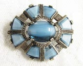 Vintage Celtic Scottish Blue Glass Stone Brooch signed Miracle