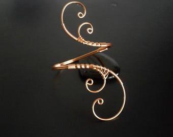Copper Bracelet , Wire Cuff Bracelet, Arm cuff, Spiral Arm Band, Arm Bangle, Upper Arm Bracelet, Wire jewelry