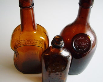 Vintage Bottles, Whiskey, Cello, Cough Syrup, Instant Collection, Bottle Collection, Brown, Dark Amber, Man Cave, Bar, Decor, Gift under 50