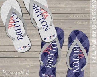 wedding flip flops - bride and groom personalized last name and date wedding flip flops - set of two