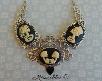 Necklace cameo skeleton the family skull choker hollow black