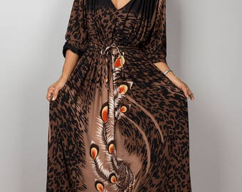 Maxi dress, Peacock dress, long sleeve dress, summer dress, loose fit dress, boho dress, brown dress : Funky Elegant Collection No.22