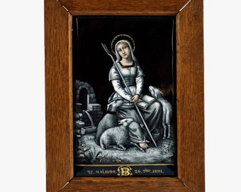 Antique French Limoges Hand Painted Grisaille Enamel on Copper Convex Plaque - Saint Genevieve Patron Saint of Paris