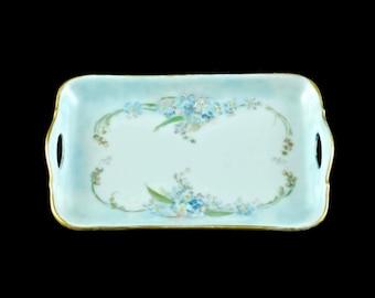 Antique Porzellanfabrik Moschendorf Bavaria Hand Painted Porcelain Trinket Dish/Tray