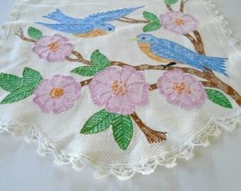 Beautiful Bird Embroidery / Table Doily / Vintage Doily / Hand Embroidered / Blue Birds / Birds And Flowers / Bird Decor / Lace Edge /Garden