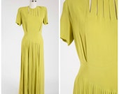 Vintage 1940s Dress • Hushed Willows • Chartreuse Rayon Full Length 40s Gown Size Medium