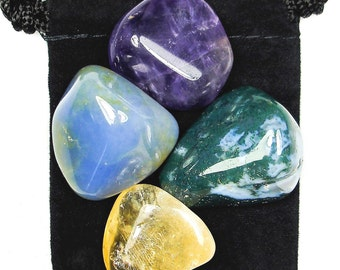 JOY AND HAPPINESS Tumbled Crystal Healing Set - 4 Gemstones w/Description & Pouch - Amethyst, Chalcedony, Citrine, Moss Agate