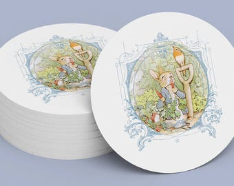 PETER RABBIT STICKER Blue Seal, Gift Tag, Gift Card, Label, Round, Circle, Peter Rabbit Cupcake Topper Printable Digital File 1005