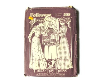 Sewing Pattern Folkwear Victorian Steampunk Calico Day Dress 1980s Size XS 208