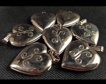 7pcs Vintage Silver Monogrammed Heart Locket