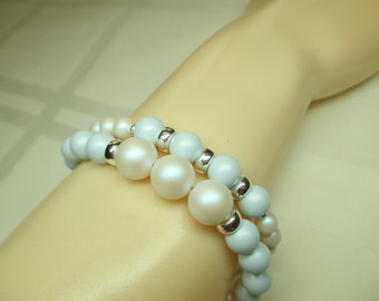 Two Strand Pastel and Blue and White Pearl Bracelet