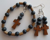 Wooden Cross Charm- Black and Brown Wood- Natural- Beaded Stretch Bracelet  (415)