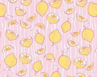 Pink Lemonade - Light Pink Citrus Splash by Ciana Bondini from Camelot Fabrics