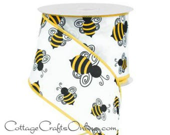 "Wired Ribbon 2 1/2"" Black and Yellow Bumble Bees on White Satin - TEN YARD ROLL -  ""Bumblebee"" Spring, Summer Craft Decor Wire Edged Ribbon"