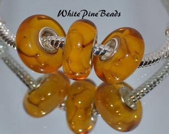 Butterscotch Gold Handmade Murano Glass Bead Fits European Style Charm Bracelets Charm Bracelets