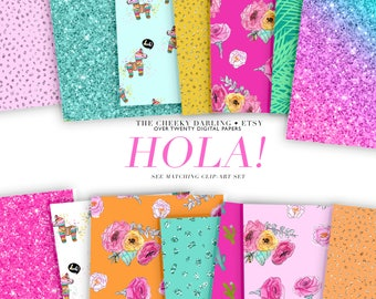Digital Paper Planner Graphics Summer Hola piñata glitter cactus Floral patterns Clip Art vacation watercolor Girly Theme fiesta party