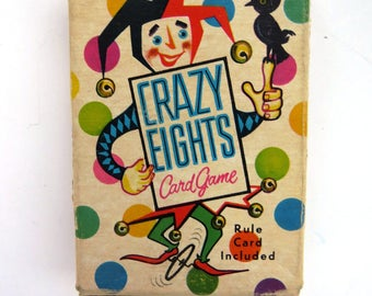 Crazy Eights Card Game Playing Cards by Whitman - 1951 Single Full Deck Original Box - Kids Games - Game Night - Collectible - Arts Crafts