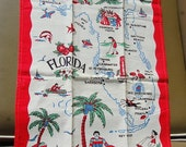 Florida Linen Towel Souvenir State Map Vintage 50's Kitchen Kitsch