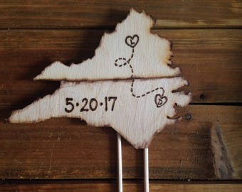 Custom wedding cake toppers *adjoining USA states Travel theme transplants Wood Rustic Country Map Vintage Inspiration