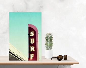 surf photography // surf art // vintage sign art // santa cruz california art // surf shop photography - Surf Sign on canvas