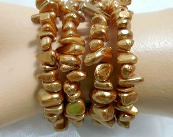 Atomic Gold Pearlized Chunk Wrap Bracelet, Memory Wire, Vintage Pearlized Beads, Bracelets, Atomic GOLD Jewelry, Bracelets by BEADGARDEN...