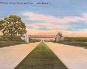 Pennsylvania Turnpike - Linen Postcard - Unused (N)