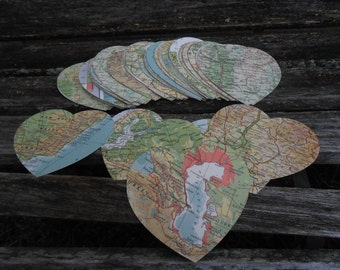 "Vintage Map 3"" Hearts, 50 Count. Wedding Decor, Escort, Seating, Place Card, Tag, Favor. Travel Destination Wedding."