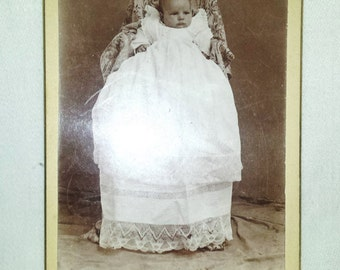 Antique Victorian Baby Photo Cabinet card Sepia