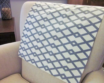 "Headrest Chair Protector or Cover, Gray and White Fret, 30"" x 14"", Recliner/Chair/Sofa Head Rest Cover, Antimacassar"