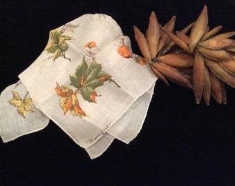 Vintage Signed Monique Handkerchief Feathery Leaves,  Vintage by Monique, Vintage Signed Handkerchief